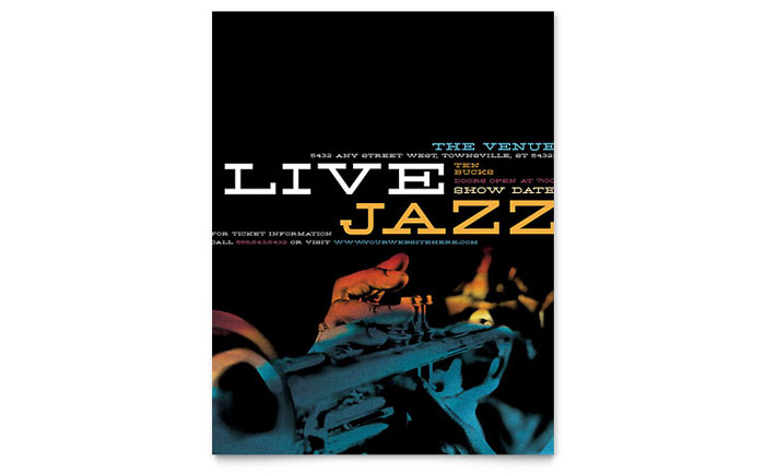 Jazz Music Event Flyer Template Word Publisher