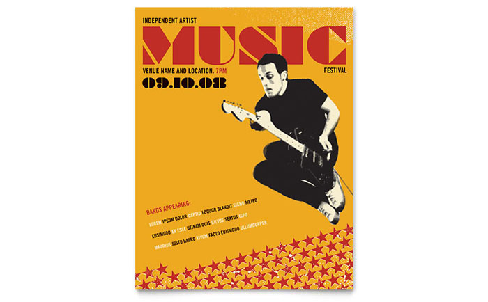 Live Music Festival Event Flyer Template Word Publisher