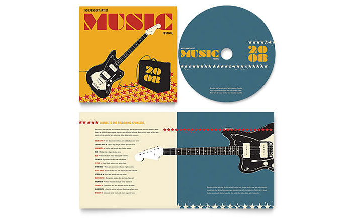 Live Music Festival Event CD Booklet Template - Word & Publisher