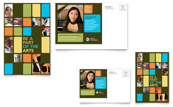 Arts Council & Education Postcard Template Download - Word & Publisher - Microsoft Office