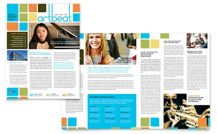 Arts Council & Education Newsletter Template - Word & Publisher