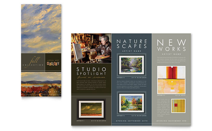 art gallery artist tri fold brochure template word publisher
