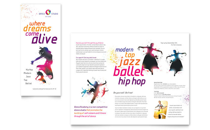 Dance Studio Brochure Template  Word  Publisher