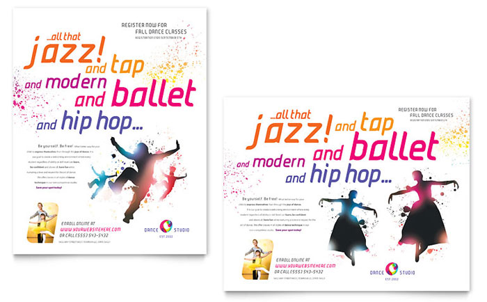 Dance Studio Poster Template Word Publisher