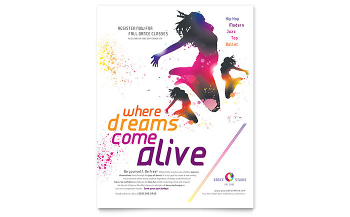 Dance Studio Flyer Template  Word  Publisher