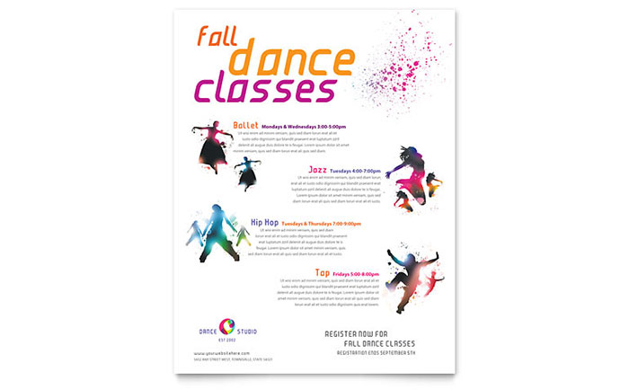 Dance Studio Class Flyer Template Download - Word & Publisher - Microsoft Office