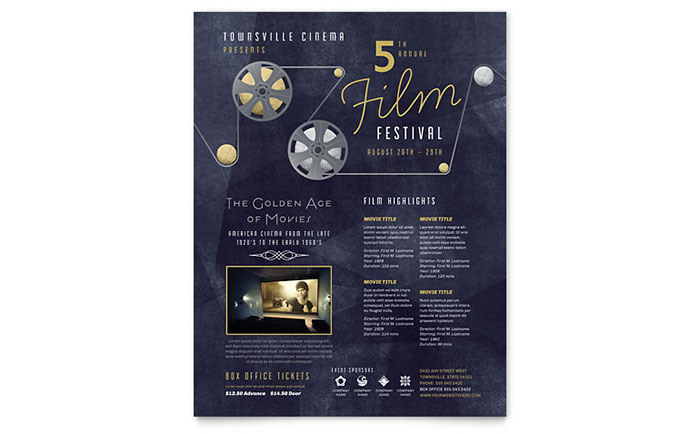 Film Festival Flyer Template - Word & Publisher