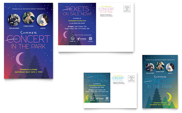 Summer Concert Postcard Template Download - Word & Publisher - Microsoft Office