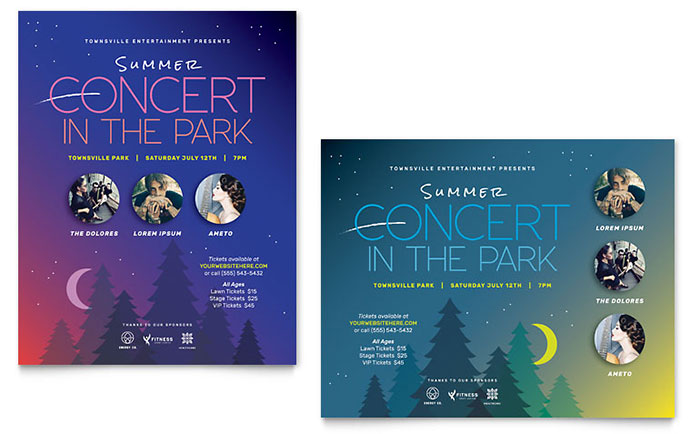 Summer Concert Poster Template - Word & Publisher