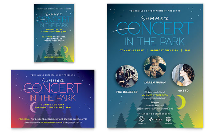 Summer Concert Flyer & Ad Template - Word & Publisher