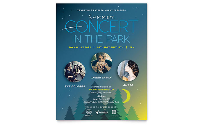 Summer Concert Flyer Template Word Publisher