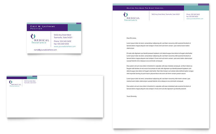 Medical Insurance Company Business Card  Letterhead Template  Word