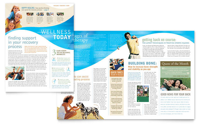 Physical therapist newsletter template word publisher for Newsletter layout templates free download