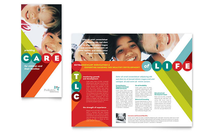 Pediatrician child care brochure template word publisher for Brochure template ms word