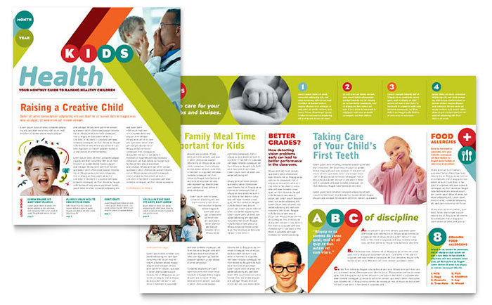 Pediatrician Child Care Newsletter Template Word Publisher - Creative newsletter design templates