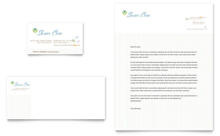 Elder Care & Nursing Home Business Card & Letterhead Template - Word & Publisher