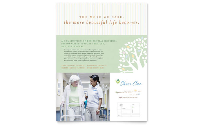 Elder Care & Nursing Home Flyer Template - Word & Publisher