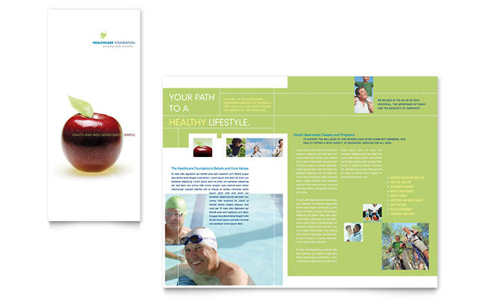 Healthcare Management Tri Fold Brochure Template - Word & Publisher