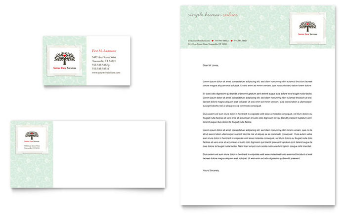 Senior Care Services Business Card & Letterhead Template - Word & Publisher