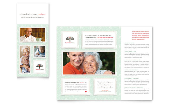 Senior Care Services Tri Fold Brochure Template - Word & Publisher