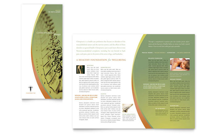 Massage Chiropractic Tri Fold Brochure Template Word Publisher