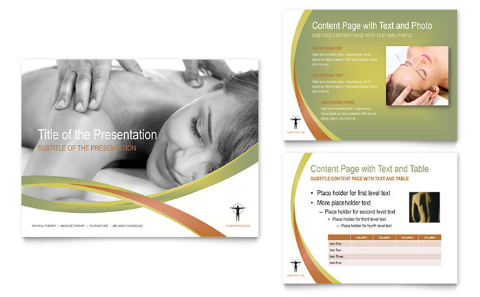 massage & chiropractic tri fold brochure template - word & publisher, Presentation templates