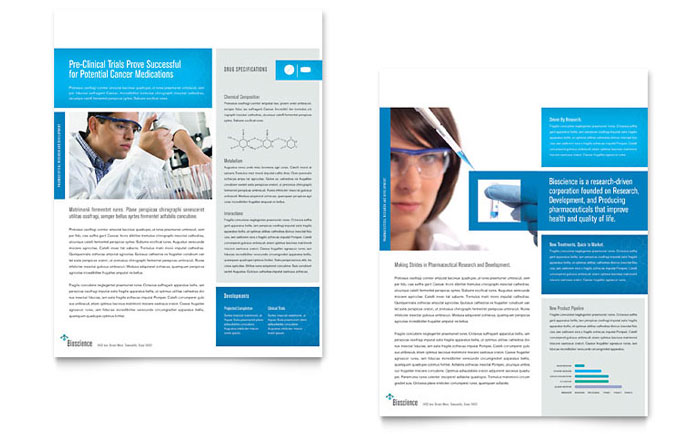 Science chemistry datasheet template word publisher for Product brochure template word