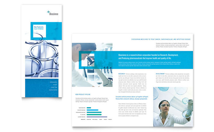 Science chemistry tri fold brochure template word for Product brochure template word