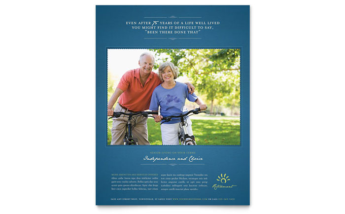 Senior Living Community Flyer Template Download - Word & Publisher - Microsoft Office