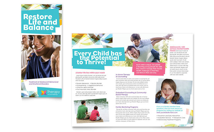 Adolescent Counseling Tri Fold Brochure Template Word Publisher - Home care brochure template