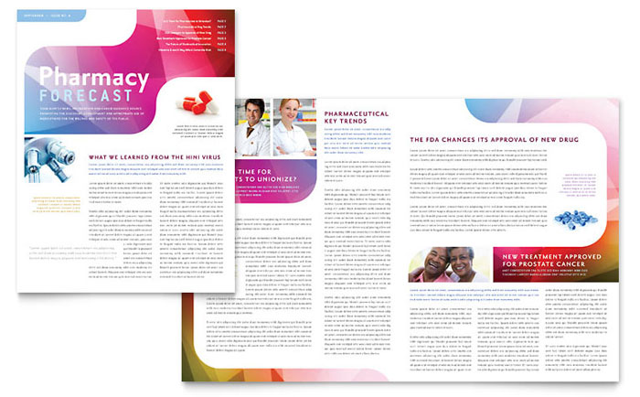 Pharmacy school newsletter template word publisher for Newsletter layout templates free download