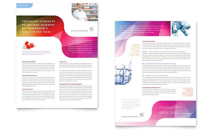 Pharmacy School Datasheet Template - Word & Publisher