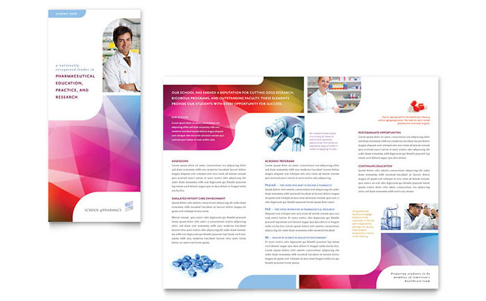 Pharmacy School Tri Fold Brochure Template Design  Free Brochure Design Templates Word