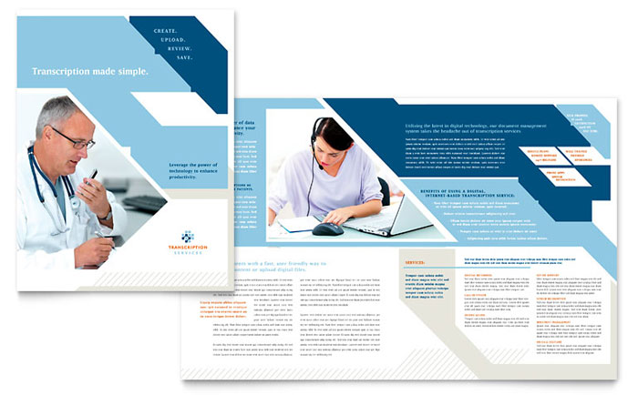 Medical Transcription Brochure Template  Word  Publisher