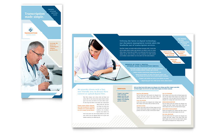 Medical transcription tri fold brochure template word for Tri fold brochure template powerpoint