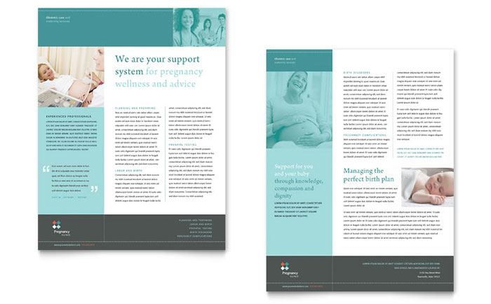 Pregnancy Clinic Datasheet Template - Word & Publisher