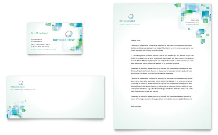 Orthodontist business card letterhead template word publisher reheart