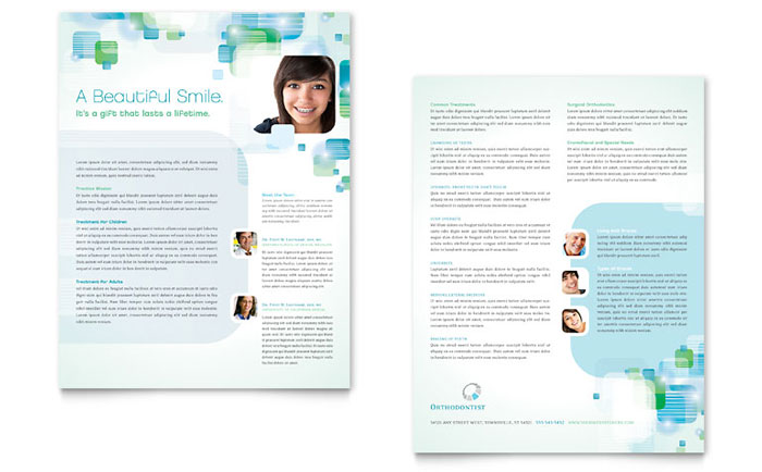 Orthodontist Datasheet Template  Word  Publisher
