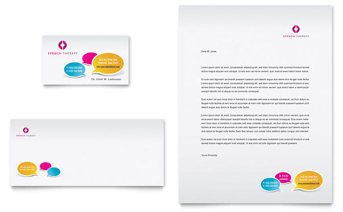 Speech Therapy Education Business Card & Letterhead Template Download - Word & Publisher - Microsoft Office
