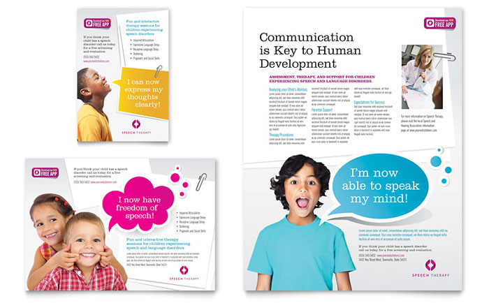 Speech Therapy Education Flyer  Ad Template  Word  Publisher