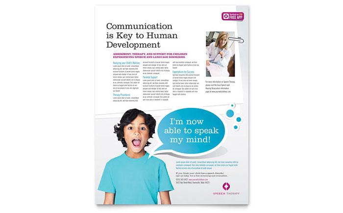 Speech Therapy Education Flyer Template Download - Word & Publisher - Microsoft Office