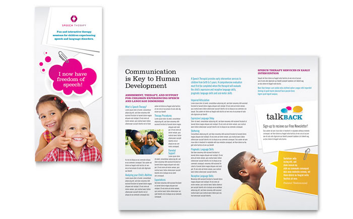 Speech Therapy Education Tri Fold Brochure Template Word Publisher - Free tri fold brochure templates