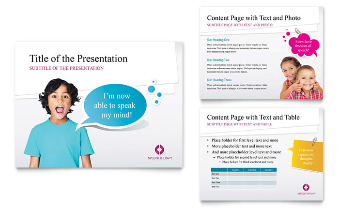 Speech Therapy Education PowerPoint Presentation Template Download - Microsoft Office