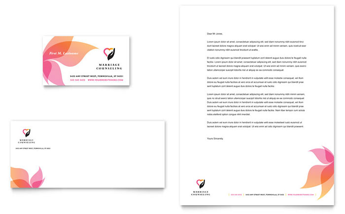 Marriage Counseling Business Card Letterhead Template Word - Microsoft office templates business cards