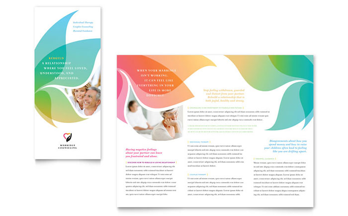 Marriage counseling tri fold brochure template word for Word template brochure