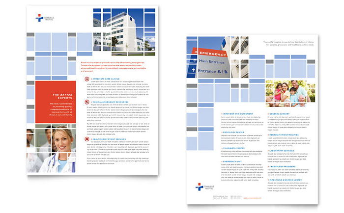 Hospital Datasheet Template  Word  Publisher