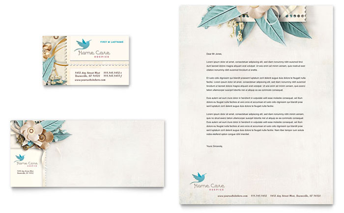 Hospice & Home Care Business Card & Letterhead Template - Word & Publisher