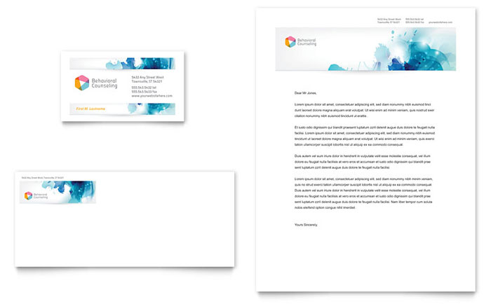 Behavioral Counseling Business Card & Letterhead Template - Word & Publisher