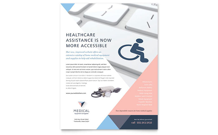 Disability Medical Equipment Flyer Template Download - Word & Publisher - Microsoft Office
