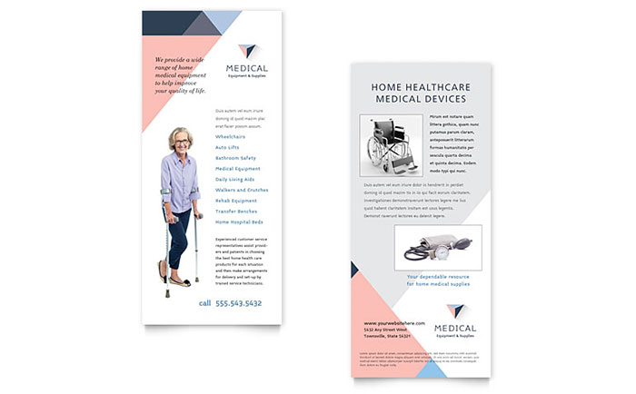 Disability Medical Equipment Rack Card Template Word Publisher - Rack card design template